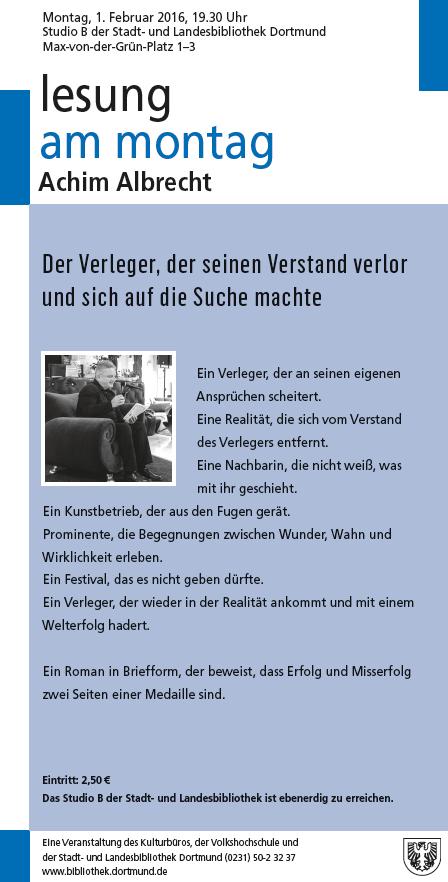 Lesung Am Montag Mit Achim Albrecht Stlb Blog