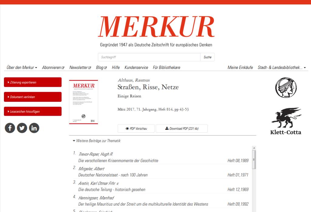 Merkur: Deutsche Zeitschrift für europäisches Denken