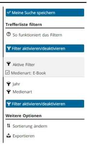 Unser Katalog, Filtermöglichkeiten