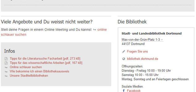 Bibliotheks-Startseite für Dortmunder Schulen