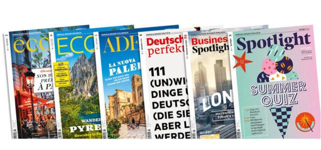 """Beliebte Sprachlernmagazine wie """"Spotlight"""", """"Adesso"""" oder """"Deutsch perfekt"""" online lesen – unser PressReader macht es möglich!"""